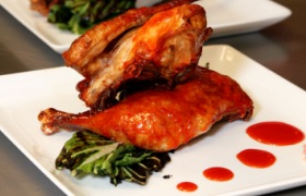 Honey Sriracha Glazed Chicken with Sauteed Bok Choy & Ginger