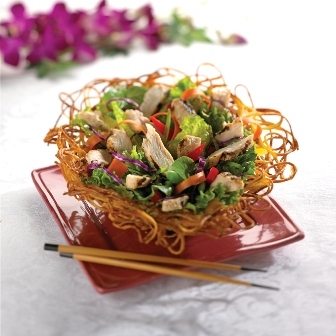 Asian Chicken Salad in a Noodle Bowl