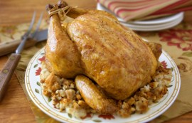 Pancetta Roast Chicken with Fennel Stuffing