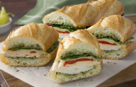Warm Turkey Pesto Baguette Sandwich