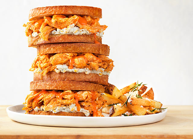 Pulled Buffalo Chicken Sandwich with Blue Cheese Cream